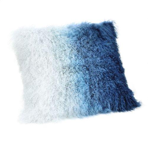 Lamb Fur Pillow Blue Spectrum