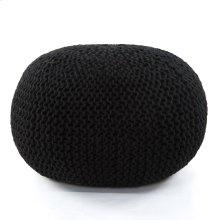 Jute Knit Pouf- Black