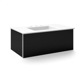 """V14 36-1/4"""" X 14"""" X 21"""" Wall-mount Vanity In Black With Slow-close Plumbing Drawer and 37"""" Stone Vanity Top In Quartz White With Center Mount Sink and Single Faucet Hole"""