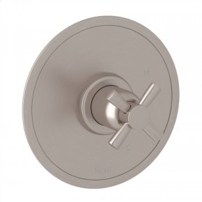 Satin Nickel Perrin & Rowe Holborn Pressure Balance Trim without Diverter with Holborn Cross Handle