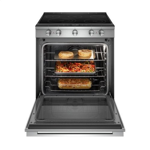 Whirlpool® 6.4 Cu. Ft. Smart Contemporary Handle Slide-in Electric Range with Frozen Bake™ Technology - Fingerprint Resistant Stainless Steel