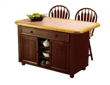 CY-KITT02-B24-NLO3PC  3 Piece Nutmeg Kitchen Island Set with Light Oak Trim and Terracotta Rose Tile Top