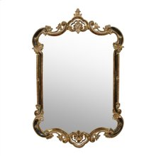Traditional 18-Century Mirror with C-Scroll Design, Antique Silver and Soft Black