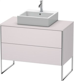 Vanity Unit For Console Floorstanding, White Lilac Satin Matt Lacquer
