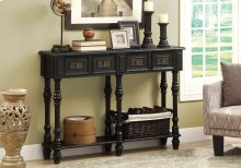 "ACCENT TABLE - 48""L / ANTIQUE BLACK TRADITIONAL STYLE"