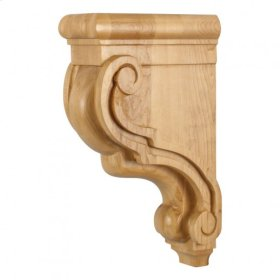 "3-3/8"" x 7-3/4"" x 13"" Scrolled Wood Bar Bracket Corbel, Species: Rubberwood"
