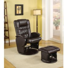 Casual Brown Faux Leather Reclining Glider With Matching Ottoman