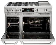 """48"""" four Sealed Burner + BBQ Burner + Griddle, Dual Fuel self-clean range, Natural Gas"""