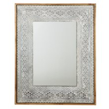 Washed Galvanized Embossed Tribal Framed Wall Mirror.