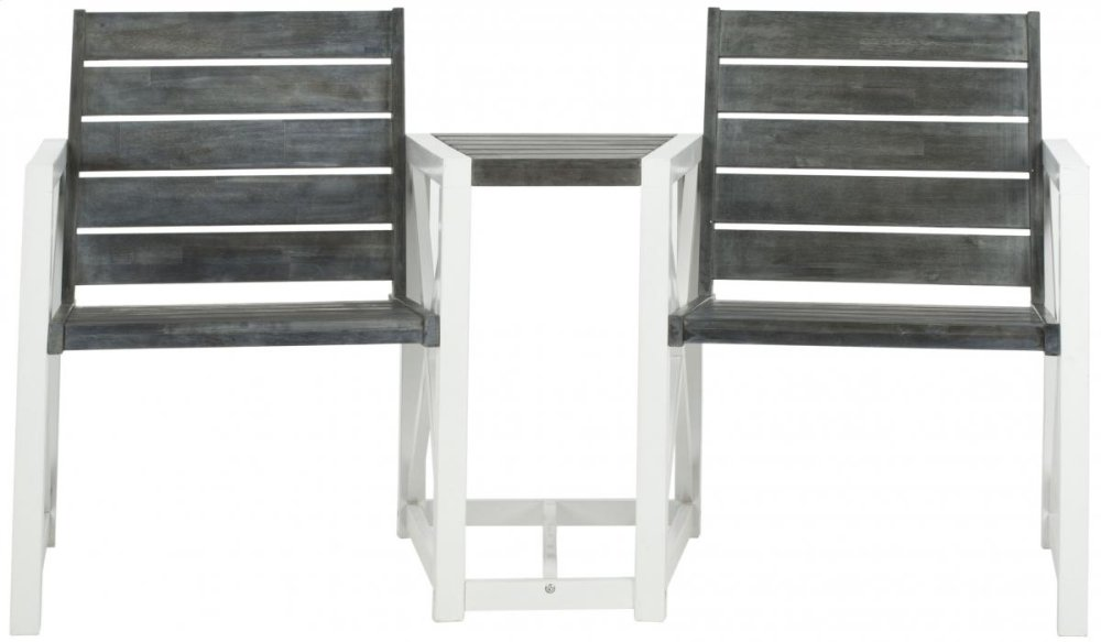 Jovanna 2 Seat Bench - White / Ash Grey