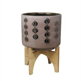 Pink/bronze Planter On Stand 14.5""