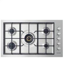 """Gas on Steel Cooktop 36"""" 5 Burner, Flush Fit (LPG)"""
