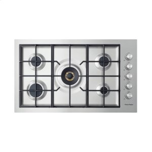 """FISHER & PAYKELGas on Steel Cooktop 36"""" 5 Burner, Flush Fit (LPG)"""
