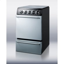 """20"""" wide 'slide-in' look electric range with stainless steel doors, black cabinet, smooth ceramic glass burners, and towel bar handles"""