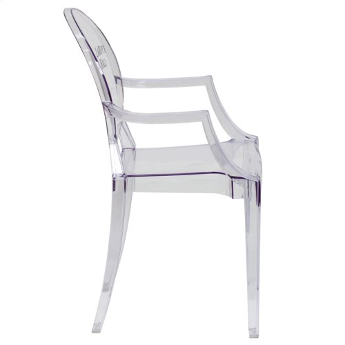 Personalized Ghost Chair with Arms in Transparent Crystal