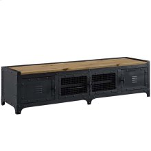 """Dungeon 63"""" Pine Wood and Steel TV Stand in Black"""