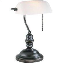 Banker's Lamp, Dark Bronze, Frost Glass Shade, E27 Cfl 13w