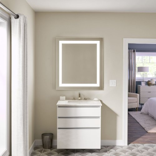 "Vitality 36"" X 40"" X 1-3/4"" Rectangle Lighted Mirror With Inset Light Pattern, 2700 Kelvin Temperature (warm Light), Dimmable and Defogger"