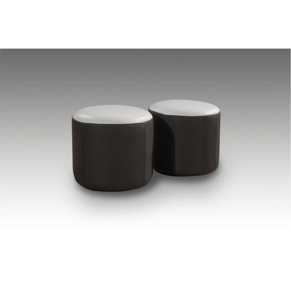 Divani Casa 8052 Modern Black and White Bonded Leather Ottoman