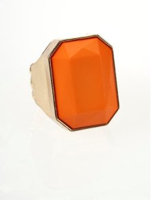BTQ Orange Faceted Ring