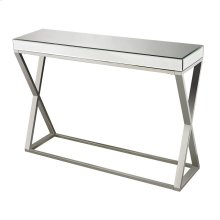MIRROR AND STAINLESS CONSOLE TABLE
