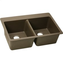 "Elkay Quartz Classic 33"" x 22"" x 9-1/2"", Equal Double Bowl Drop-in Sink, Mocha"