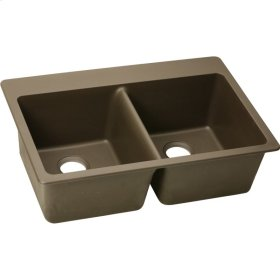 "Elkay Quartz Classic 33"" x 22"" x 9-1/2"", Equal Double Bowl Top Mount Sink, Mocha"