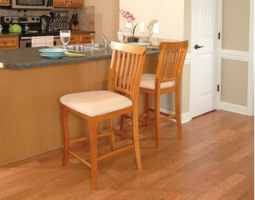 Venetian Pub Chairs Set of 2 with Oatmeal Cushion in Caramel Latte