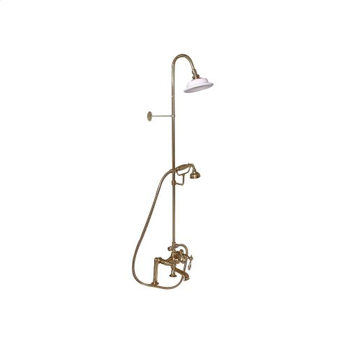 Tub Filler with Diverter Hand-Held Shower and Riser - Metal Lever Handles - Polished Brass