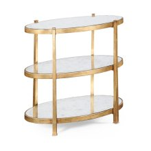 Small glomise & Gilded Iron Three-Tier Table