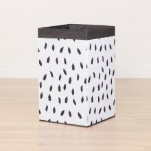 Laundry Hamper Feathers Print - White and Gray