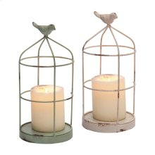 Candle Holders With Bird, Set of 2