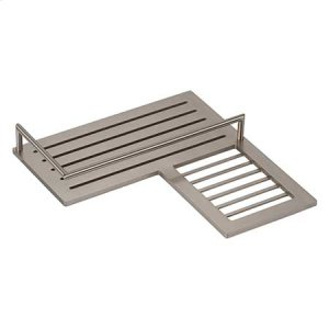 Satin Nickel Combination Corner Shower Shelf - Right