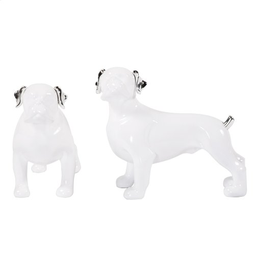 White Ceramic Dog Statues w/ Silver Accents - set of 2