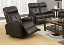 RECLINING CHAIR - SWIVEL GLIDER / DARK BROWN PU