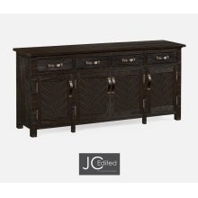 Dark Ale Parquet Sideboard with Strap Handles
