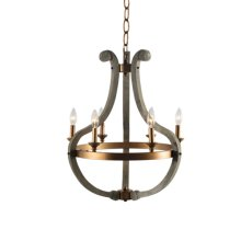 6 Light Chandelier in Wood and Rustic Brass Finish