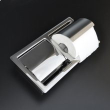 "Recessed double toilet paper holder made of stainless steel.W: 10 1/2"" D: 4"" H: 4 3/4"""