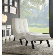 Tustin Lounge Chair and Ottoman Set With White Fuax Leather Fabric & Black Legs