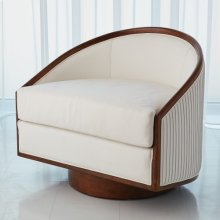 Swivel Chair-White Leather