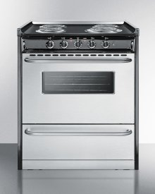 """Slide-in Electric Range In 30"""" Width With Stainless Steel Doors and Black Porcelain Top; Replaces Tem230r"""