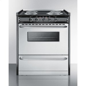 "SummitSlide-in Electric Range In 30"" Width With Stainless Steel Doors and Black Porcelain Top; Replaces Tem230r"