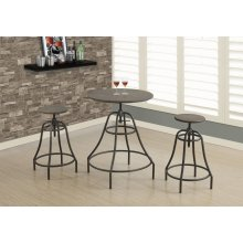 DINING SET - 3PCS SET / DISTRESSED BROWN / BRONZE METAL
