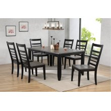 DLU-EB4272-C100-7PC  7 Piece Dining Set  Extendable Table  6 Ladder Back Chairs