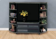 BOOKCASE - BLACK / GOLD ACCENT STORAGE UNIT