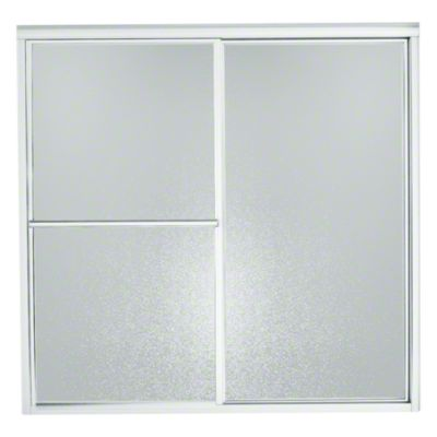 "Deluxe Sliding Bath Door - Height 55-1/4"", Max. Opening 56-1/4"" - Silver with Pebbled Glass Texture"