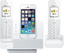 Link2Cell Digital Phone with iPhone5 Integration and Answering Machine KX-PRL262W 2 Cordless Handsets - White