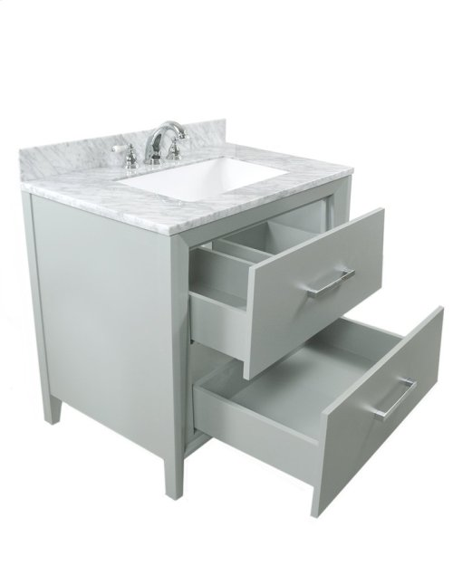 Walnut Brown CANTO 36-in Single-Basin Vanity Cabinet with Carrara Marble Stone Top and Karo 20x13 Sink