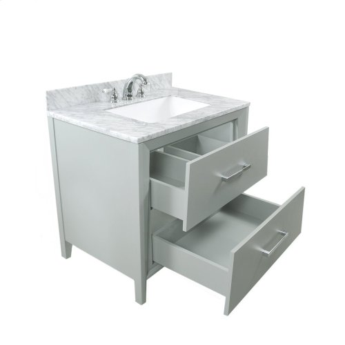 Ocean Grey CANTO 36-in Single-Basin Vanity Cabinet with Carrara Marble Stone Top and Karo 20x13 Sink
