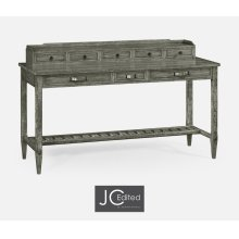 Antique Dark Grey Plank Buffet with Strap Handles